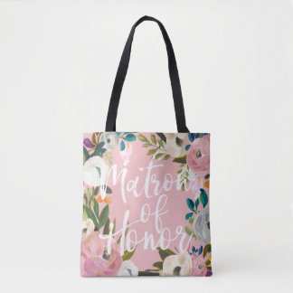 Matron of Honor Brushed Floral Wedding Party Pink Tote Bag