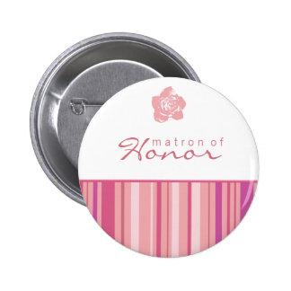 Matron of Honor Button-Modern Stripes (Pink)