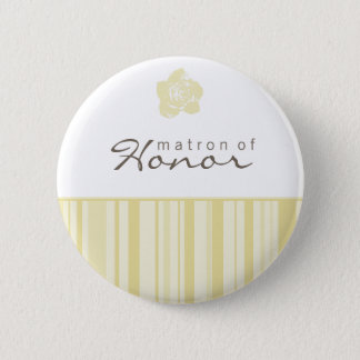 Matron of Honor Button-Modern Stripes (Yellow) Pinback Button