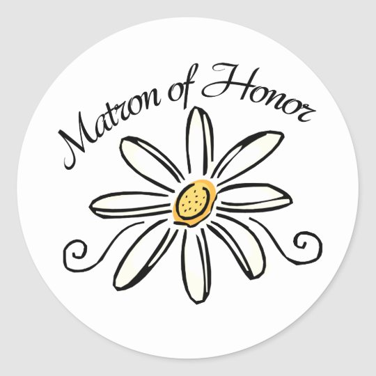 Matron of Honor Classic Round Sticker