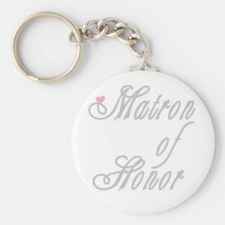 Matron of Honor Classy Grays Basic Round Button Keychain