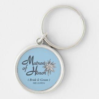 Matron of Honor Cornflower Blue Custom Keychains