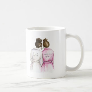 Matron of Honor? Dark Br Bun Bride Br Bun Maid Coffee Mug