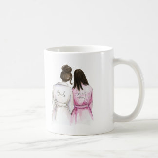 Matron of Honor? Dark Br Bun Bride Dk Br Long Maid Classic White Coffee Mug