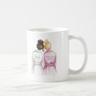 Matron of Honor? Dk Br Bun Bride Bl Bun Br Maid Classic White Coffee Mug