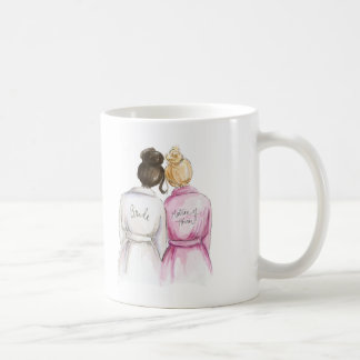 Matron of Honor? Dk Br Bun Bride Bl Bun Br Maid Coffee Mug