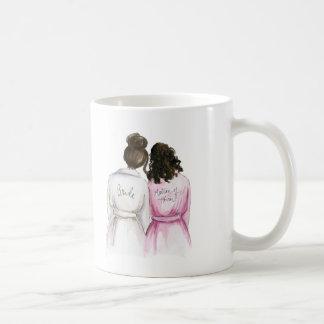 Matron of Honor? Dk Br Bun Bride Curly Dk Br Maid Coffee Mug