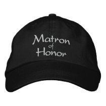 MATRON OF HONOR EMBROIDERED WEDDING CAP
