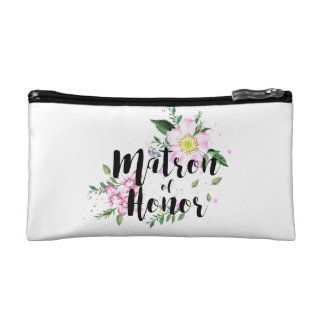 Matron of Honor Floral Watercolor Wedding Cosmetic Bag