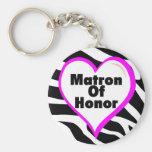 Matron Of Honor (Heart Zebra Print) Basic Round Button Keychain