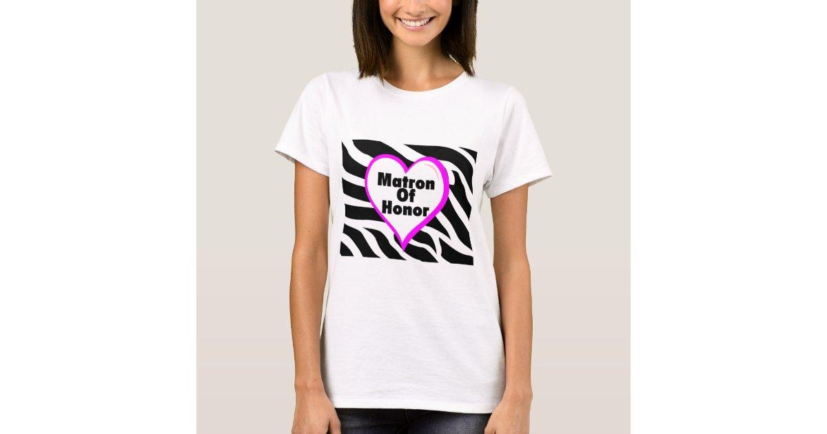 Matron of honor heart zebra print t shirt zazzle for Vista print tee shirt