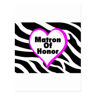 Matron Of Honor (Heart Zebra Stripes) Postcard