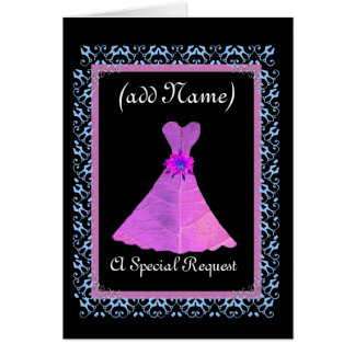 MATRON OF HONOR  Invitation PURPLE Gown Lace Trim Greeting Cards