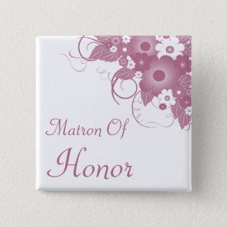 Matron Of Honor Mauve Bouquet Button