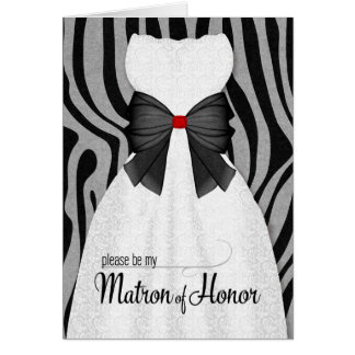 Matron of Honor Request in Gray Animal Print Card