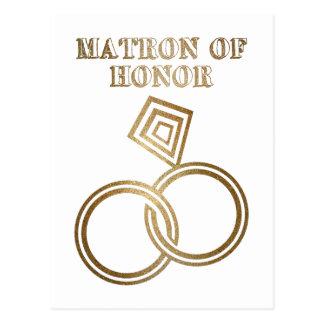 Matron Of Honor Romantic Gold Rings Wedding Postcard