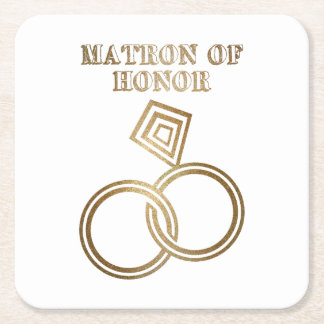 Matron Of Honor Romantic Gold Rings Wedding Square Paper Coaster