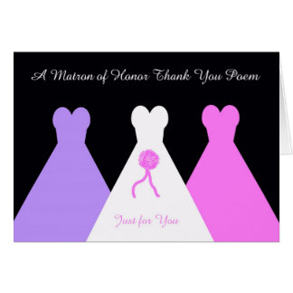 Matron of Honor Thank You Poem Card
