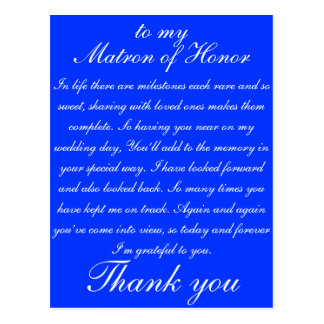 Matron of Honor Thank you Postcard
