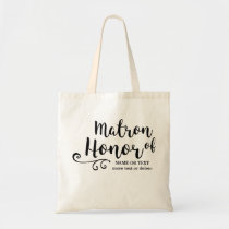 Matron of Honor Tote Bag- Chic Swirl Modern Script