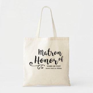Matron of Honor Tote Bag- Chic Swirl Modern Script