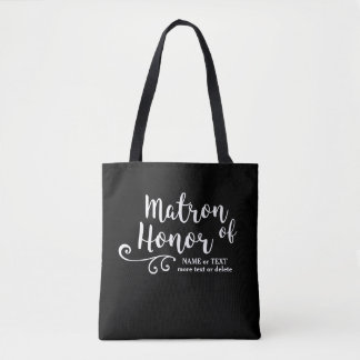 Matron of Honor Tote Bag | Chic White Script
