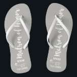 """Matron of Honor Wedding Favor Name Monogram Grey Flip Flops<br><div class=""""desc"""">Surprise your Matron of Honor with these fun flip flops - personalize with her name or monogram and wedding date. The background color can be changed to match the wedding colors. Makes a perfect bridal party favor and something she can wear during the wedding or on the dance floor. Modern...</div>"""
