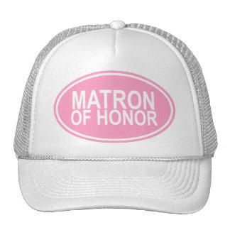 Matron of Honor Wedding Oval Pink Trucker Hat