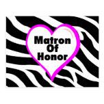 Matron Of Honor Zebra Stripes Post Card
