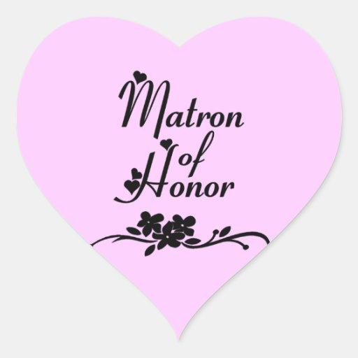 Matrona clásica del honor pegatina en forma de corazón