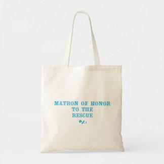 Matrona de la aguamarina del tote del honor bolsa tela barata