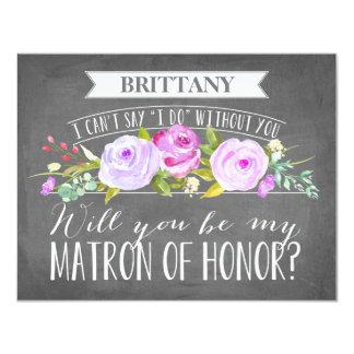 """Matrona de la dama de honor de la tarjeta el   del invitación 4.25"""" x 5.5"""""""