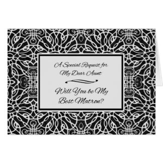 Matrona de la invitación del honor para una tía, tarjeta de felicitación