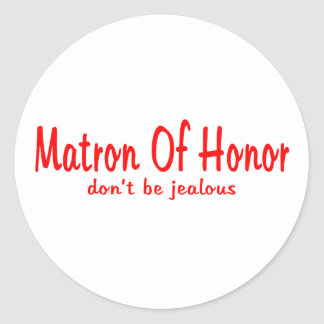 Matrona de los celos del honor pegatina redonda