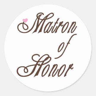 Matrona de los marrones con clase del honor pegatina redonda