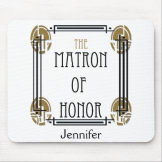 Matrona del art déco del honor en negro y oro alfombrilla de ratón