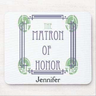 Matrona del art déco del honor en púrpura y verde alfombrillas de ratón