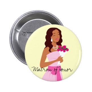 Matrona del botón del vestido de boda del rosa del