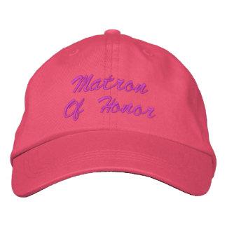 Matrona del gorra bordado honor gorras de béisbol bordadas