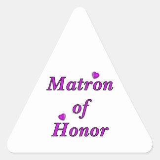 Matrona del honor del amor simplemente pegatina triangular