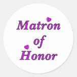 Matrona del honor del amor simplemente etiqueta redonda