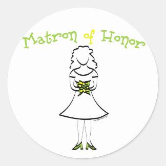Matrona del honor pegatina redonda