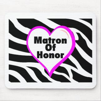Matrona del honor (rayas de la cebra del corazón) tapetes de ratón
