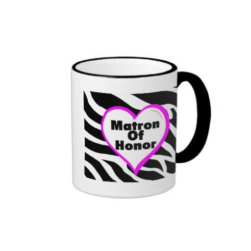 Matrona del honor (rayas de la cebra del corazón) taza a dos colores