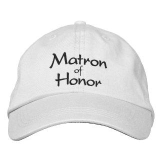 Matrona elegante del casquillo bordado honor gorras bordadas