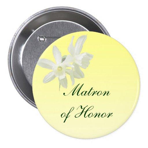 Matrona floral amarilla del boda del Pin del honor