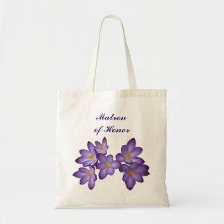 Matrona floral de la primavera púrpura del honor bolsa tela barata
