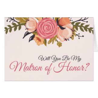 Matrona floral de la tarjeta de la petición del