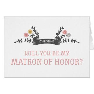Matrona floral moderna de la tarjeta de la