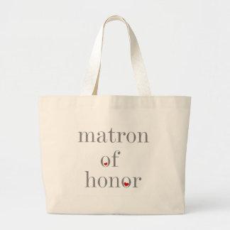 Matrona gris del texto del honor bolsa tela grande